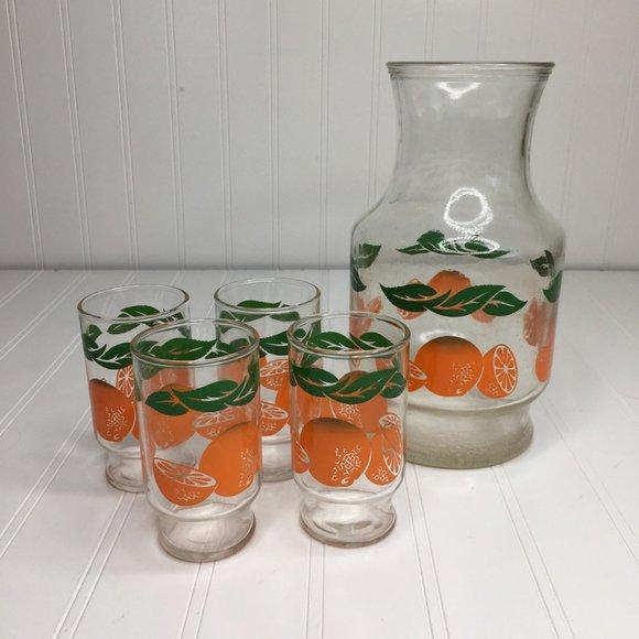 Vintage Anchor Juice Glasses & Pitcher Oranges